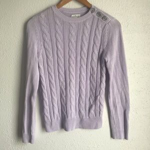 LL BEAN SIGNATURE Lilac Purple Cotton Sweater Sz S